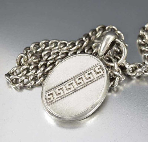 Victorian Greek Key Sterling Silver Antique Locket