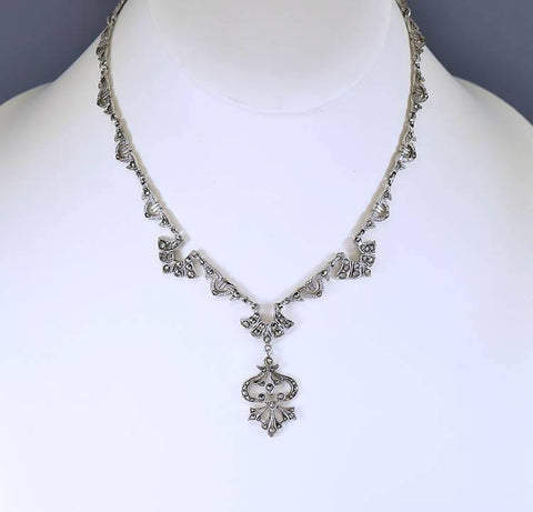 Vintage English Sterling Marcasite Necklace Art Deco