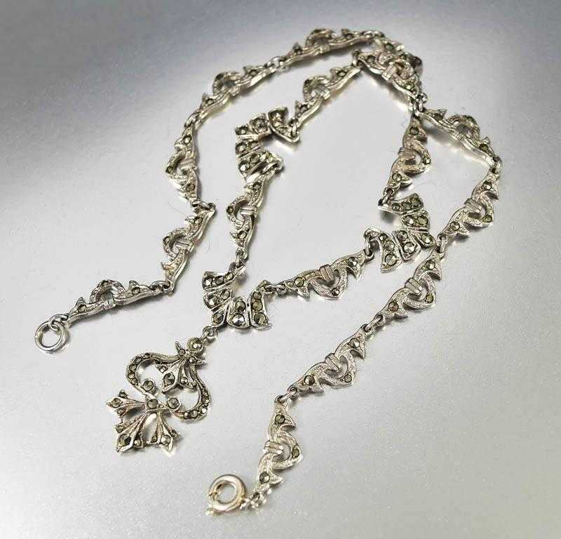 Vintage English Sterling Marcasite Necklace Art Deco - Boylerpf - 1