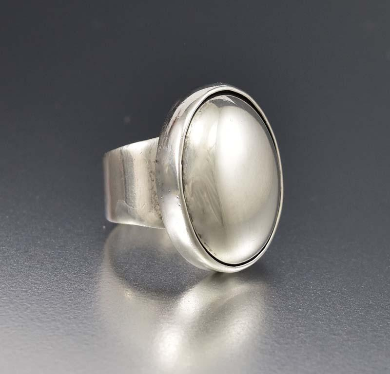 Chic Vintage Modernist Sterling Silver Dome Ring - Boylerpf