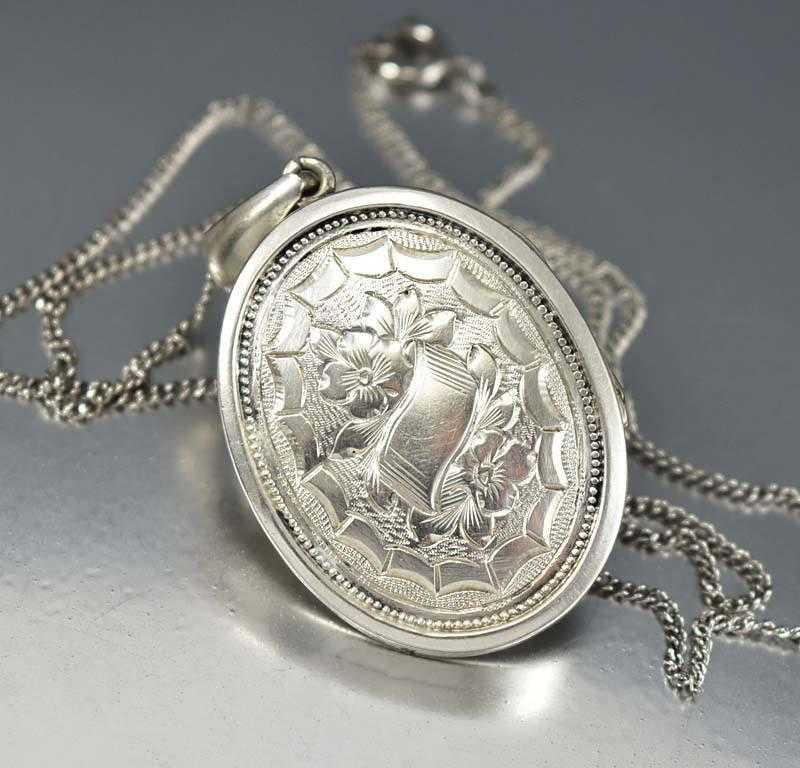 etsy by victorian silver chain book sterling engraved lockets locket on a antique pin large and oval with hallmarked daisyscabinet bookchain
