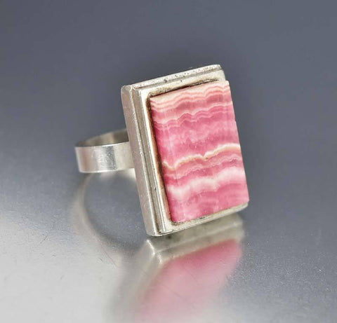 Silver English Rhodochrosite Ring Magnus Maximus Designs