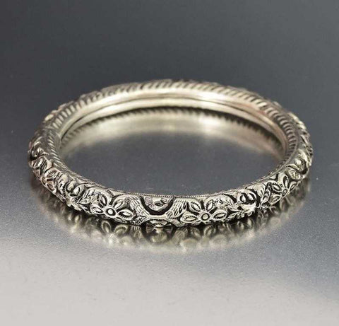 Silver Filigree Garnet Engagement Ring Edwardian Style