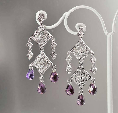 Amethyst Crystal Vintage Chandelier Earrings Deco Inspired
