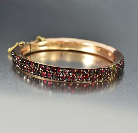 Antique Rose Gold Bohemian Garnet Bangle Bracelet