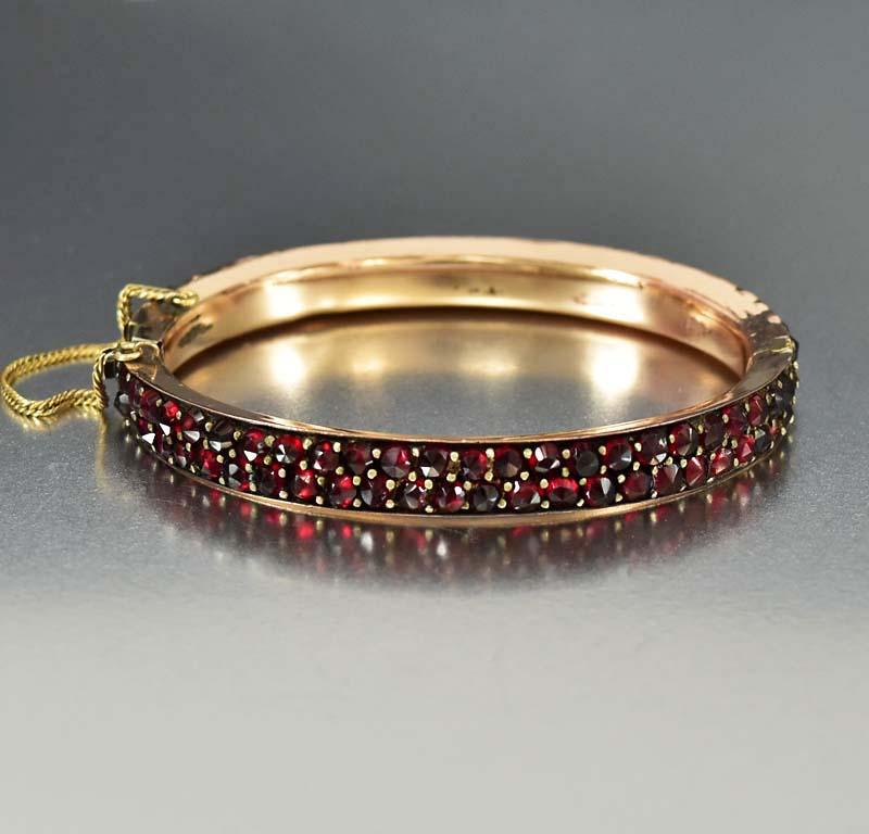 Antique Rose Gold Bohemian Garnet Bangle Bracelet - Boylerpf