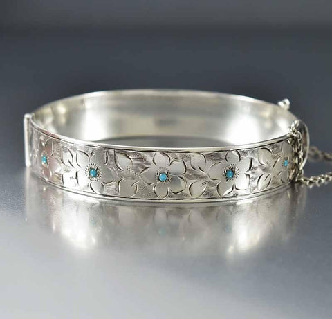 Forget Me Not Engraved Sterling Turquoise Bracelet