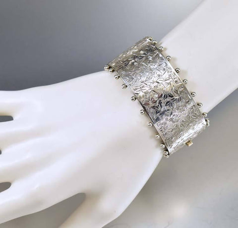 Silver Ivy Engraved Antique Victorian Cuff Bracelet