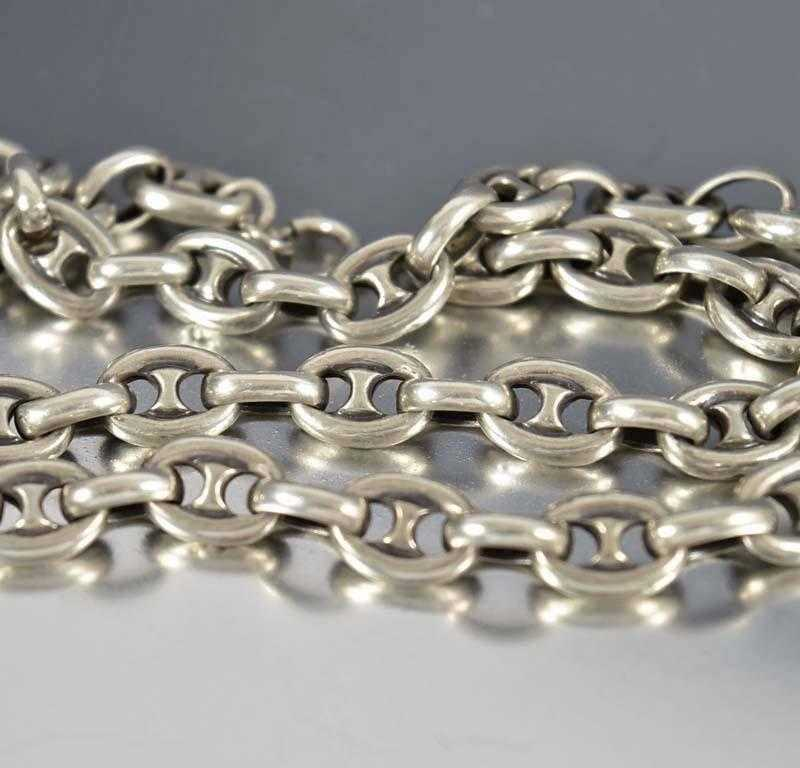 Antique Silver Marine Anchor Chain Necklace Gucci - Boylerpf - 1