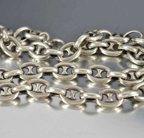 Antique Silver Marine Anchor Chain Necklace Gucci