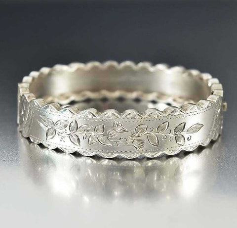 Wide Antique Sterling Silver Victorian Bangle Bracelet