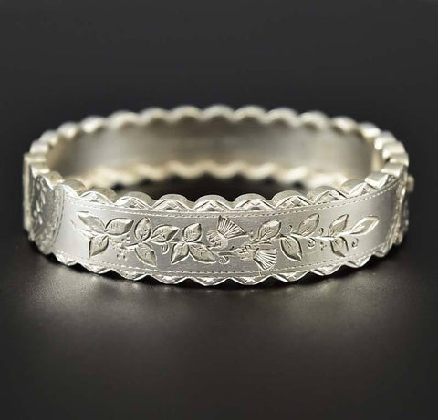 Scottish Thistle Engraved Silver Edwardian Bracelet