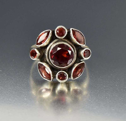 Antique Edwardian Pearl Bohemian Garnet Ring