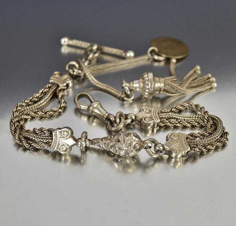 Antique Victorian Silver Albertina Watch Chain Bracelet w Tassel