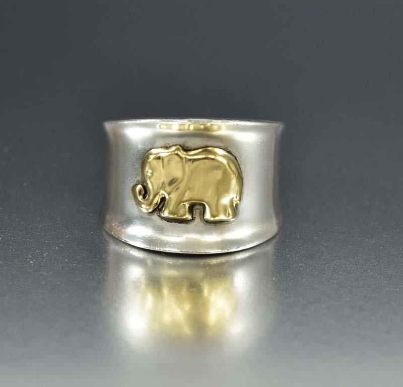 Silver 18K Gold Elephant Good Luck Band Ring - Boylerpf