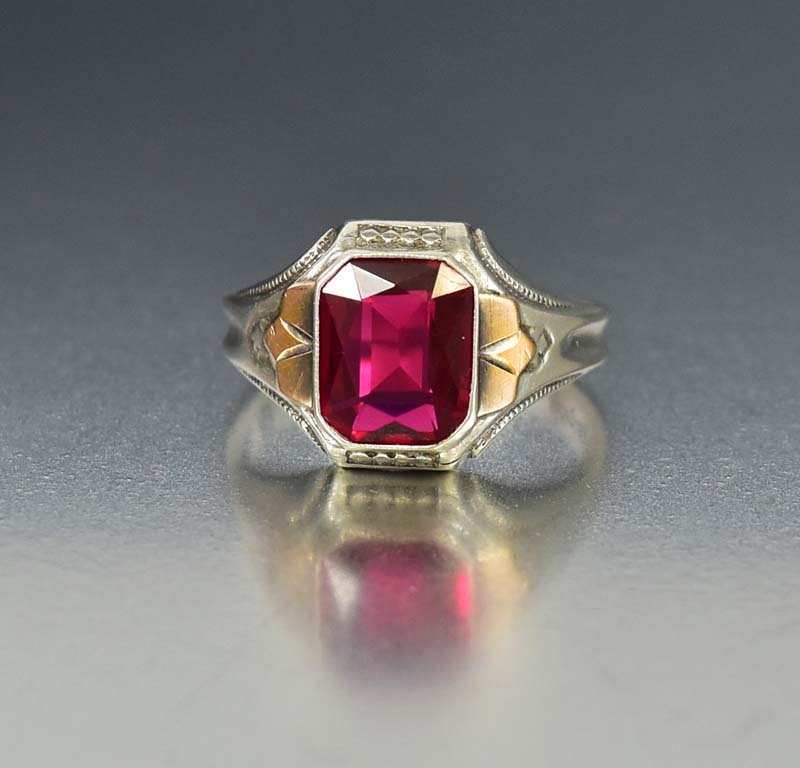 Mens Art Deco Silver Gold Ruby Signet Ring - Boylerpf