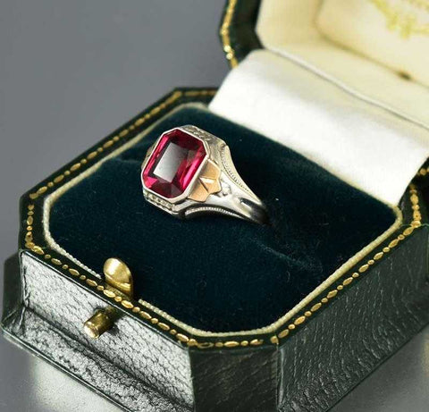 Mens Art Deco Silver Gold Ruby Signet Ring