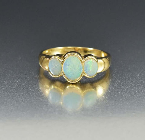 Gold English Three Stone Opal Band Ring