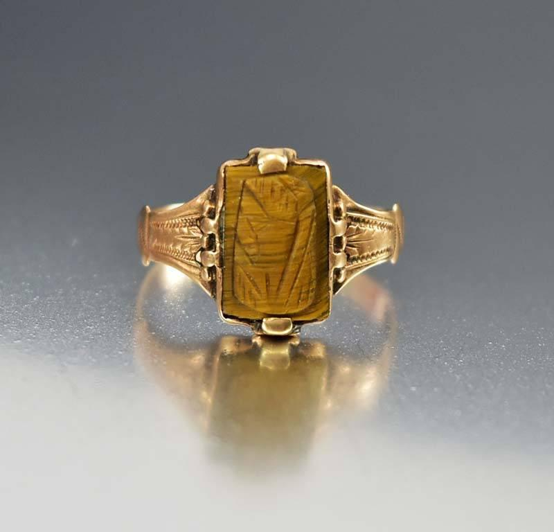 Antique Tiger Eye Cameo Engraved Gold Ring - Boylerpf