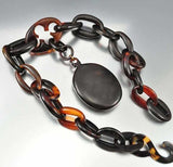 Antique Victorian Tortoise Shell Necklace Mourning Jewelry - Boylerpf