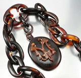 Antique Victorian Tortoise Shell Necklace Mourning Jewelry - Boylerpf - 6