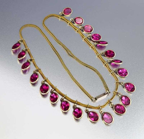 Fine Pink Tourmaline Fringe Edwardian Necklace
