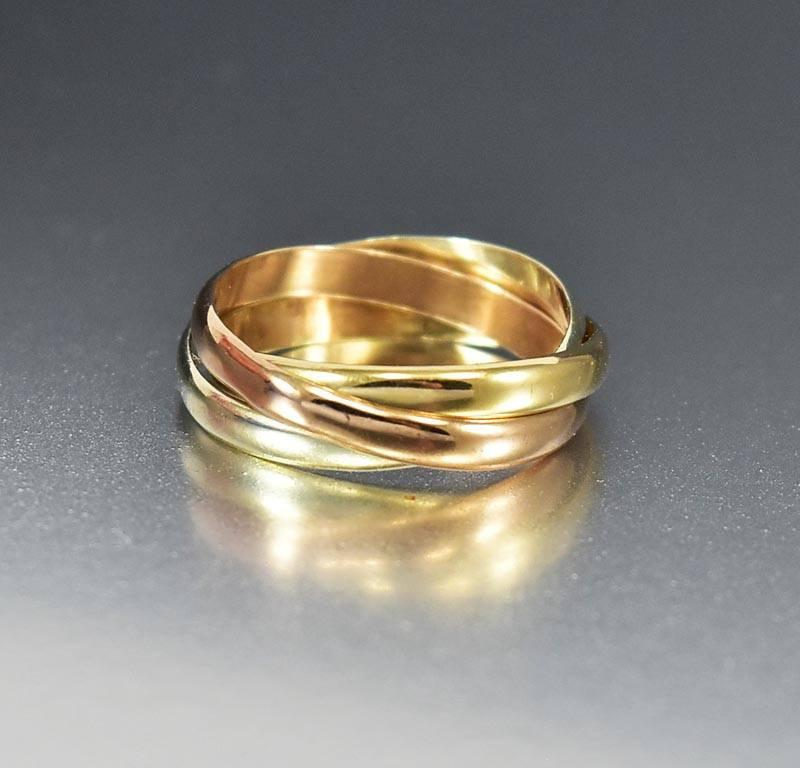Vintage Gold Tri Color Trinity Wedding Band Ring