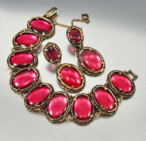 Vintage Gripoix Glass Trifari Bracelet Earrings Renaissance