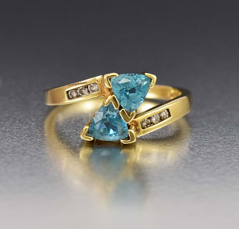 Quality Gold Diamond and Blue Topaz ByPass Ring - Boylerpf