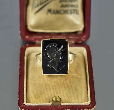 Onyx Roman Soldier Intaglio Gold Signet Ring