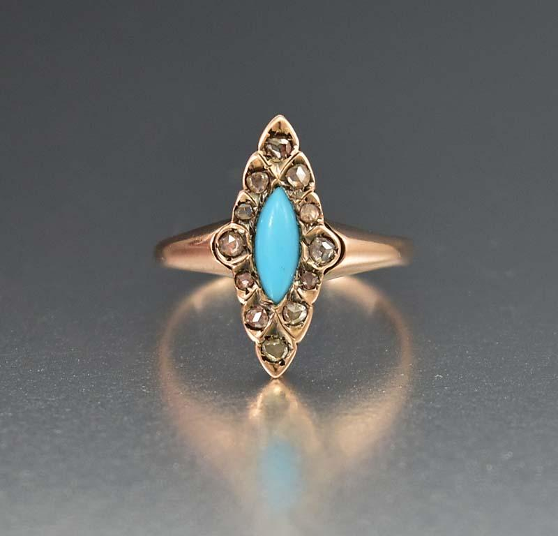products turquoise antique and ring rings engagement quitokeeto flower georgian diamond