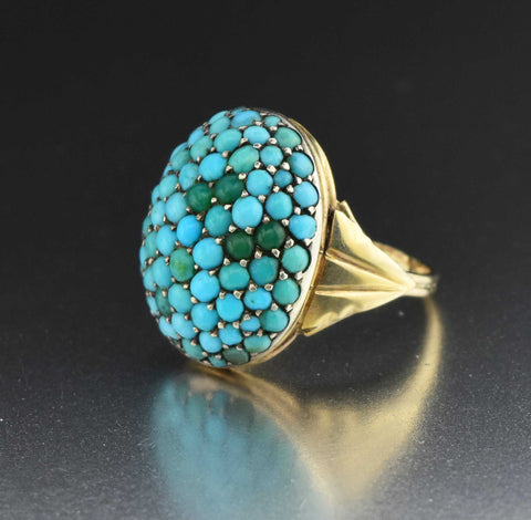 Vintage Pave Turquoise Ring 14K Gold 19th Century