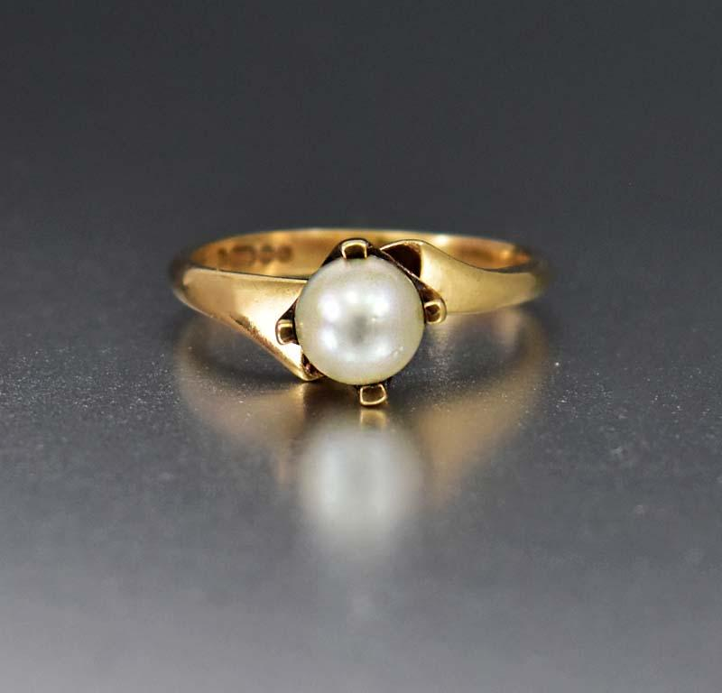 Vintage English Gold Cultured Pearl Solitaire Ring - Boylerpf
