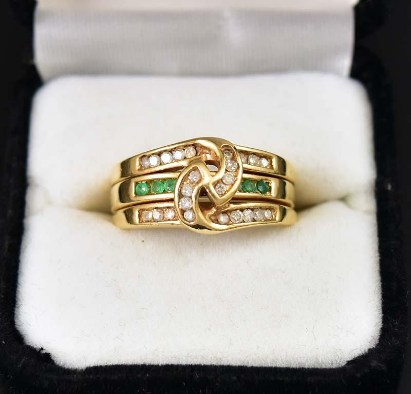 Wide Emerald and Diamond Triple Stacking Knot Ring - Boylerpf