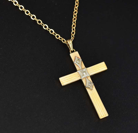 Art Deco  14K Gold Diamond Cross  Pendant Necklace