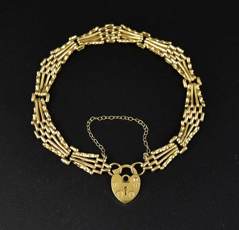 English Victorian 9K Gold Padlock Heart Bracelet