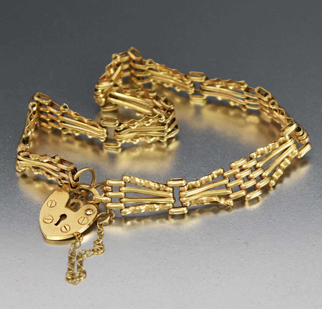 English Victorian 9K Gold Padlock Heart Bracelet - Boylerpf