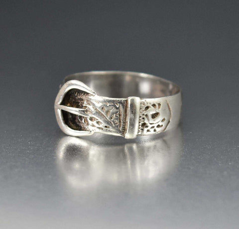 Victorian Sterling Silver Buckle Ring 1900s Wedding Band