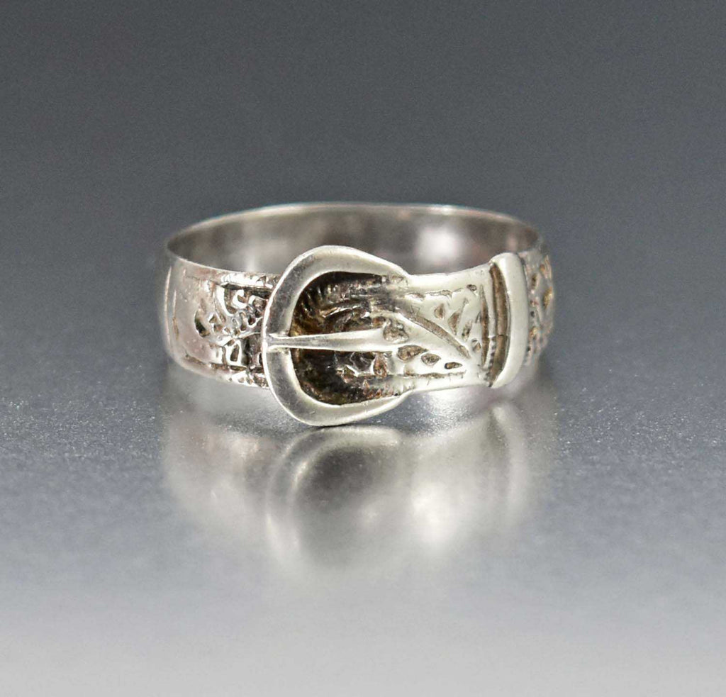 Victorian Sterling Silver Buckle Ring 1900s Wedding Band - Boylerpf