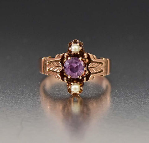 Charming Victorian Gold Pearl and Amethyst Ring