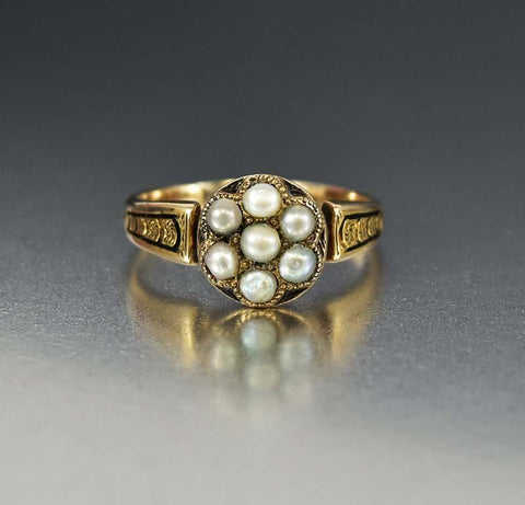 Gold Pearl & Turquoise Flower Cluster Ring