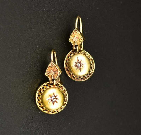Fine Victorian 14K Gold Diamond Pendant Earrings