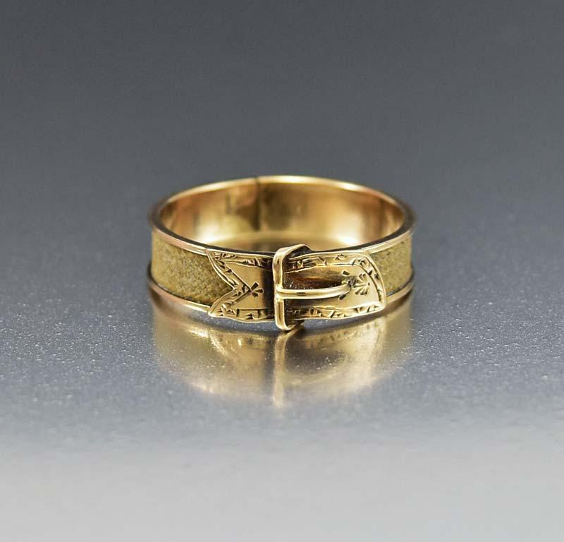 Antique 14k Gold Buckle Ring Mourning Hair Jewelry Boylerpf