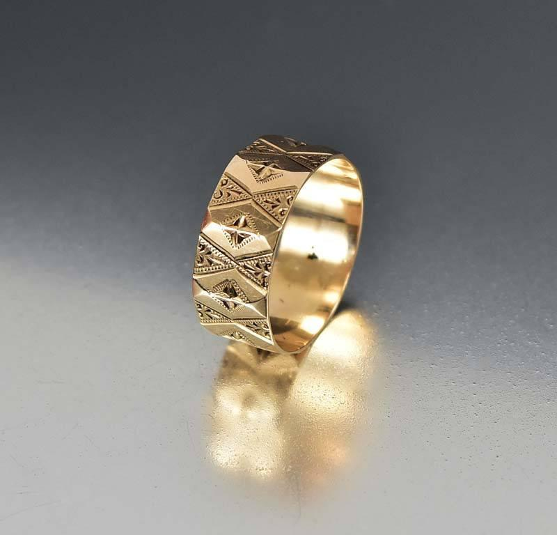 Antique Engraved 14K Rose Gold Wedding Band Ring - Boylerpf