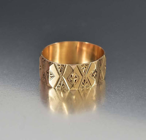 Antique Engraved 14K Rose Gold Wedding Band Ring