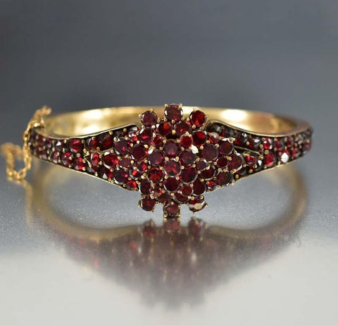 Antique Victorian Bohemian Garnet Bangle Bracelet