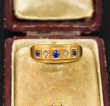 Antique 18K Gold  Diamond & Sapphire Wedding Band Ring - Boylerpf
