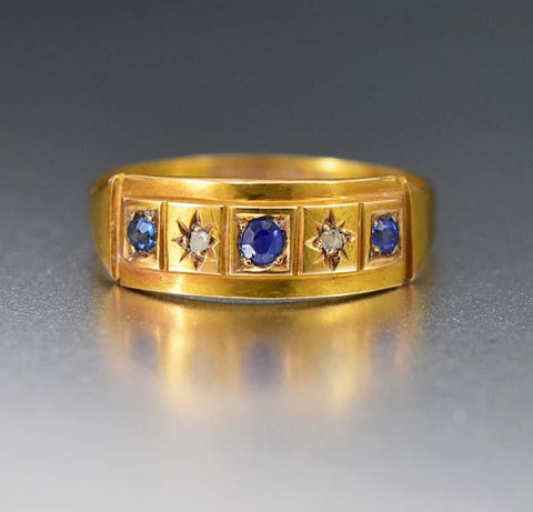 Antique 18K Gold  Diamond & Sapphire Wedding Band Ring