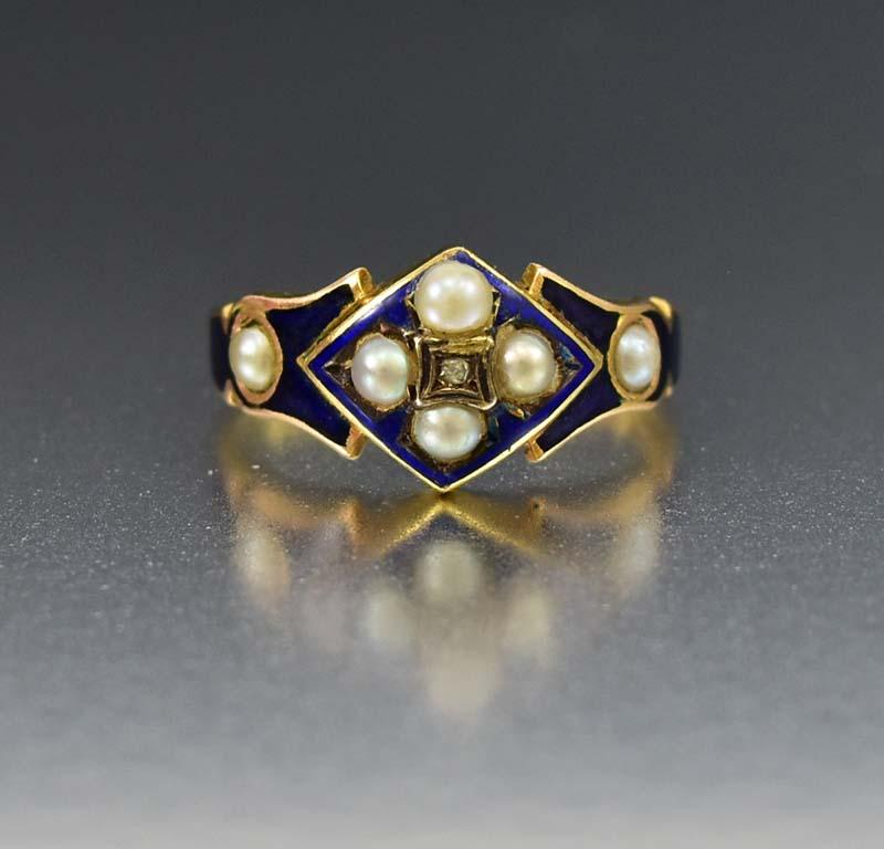 Blue Enamel Pearl and Diamond Antique 18K Gold Ring - Boylerpf