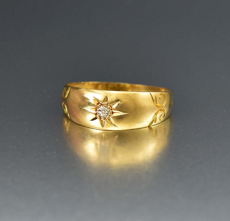 Fine 18K Gold English Antique Diamond Band Ring - Boylerpf